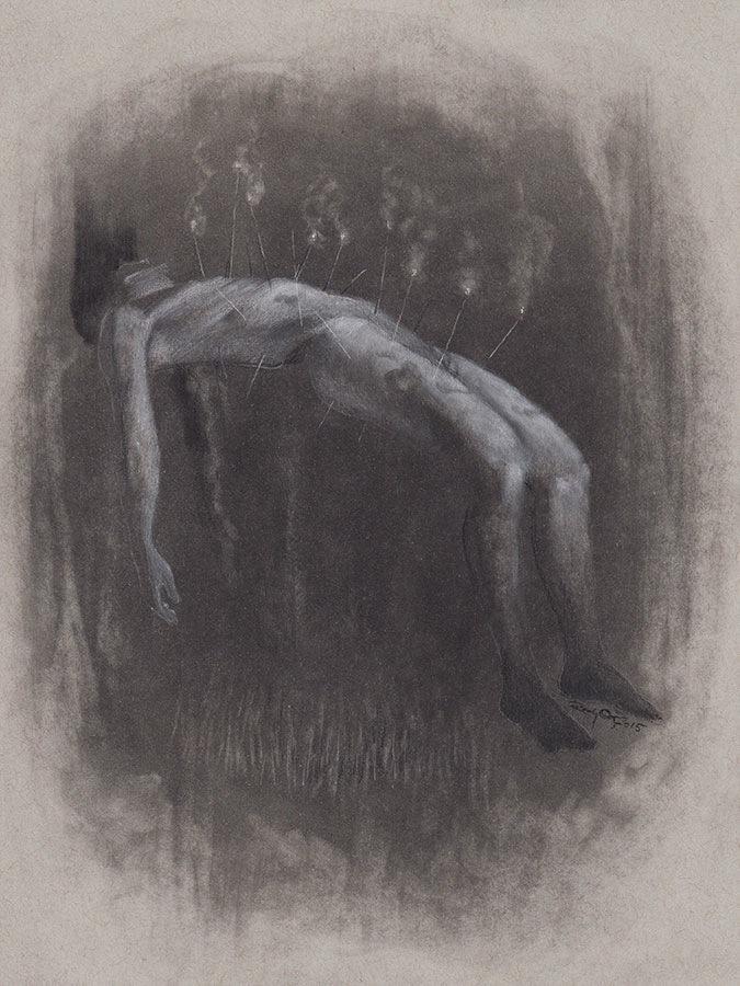 Randy Ortiz, charcoal, graphite, pastel, dark, obscure