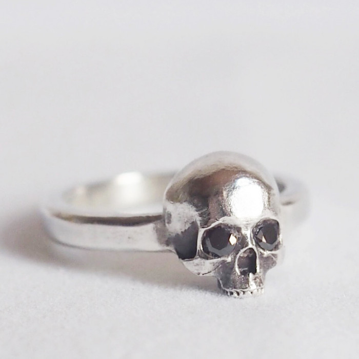 Crown Rose NYC, jewelry, handmade, silver, scull, ring, dark, obscure