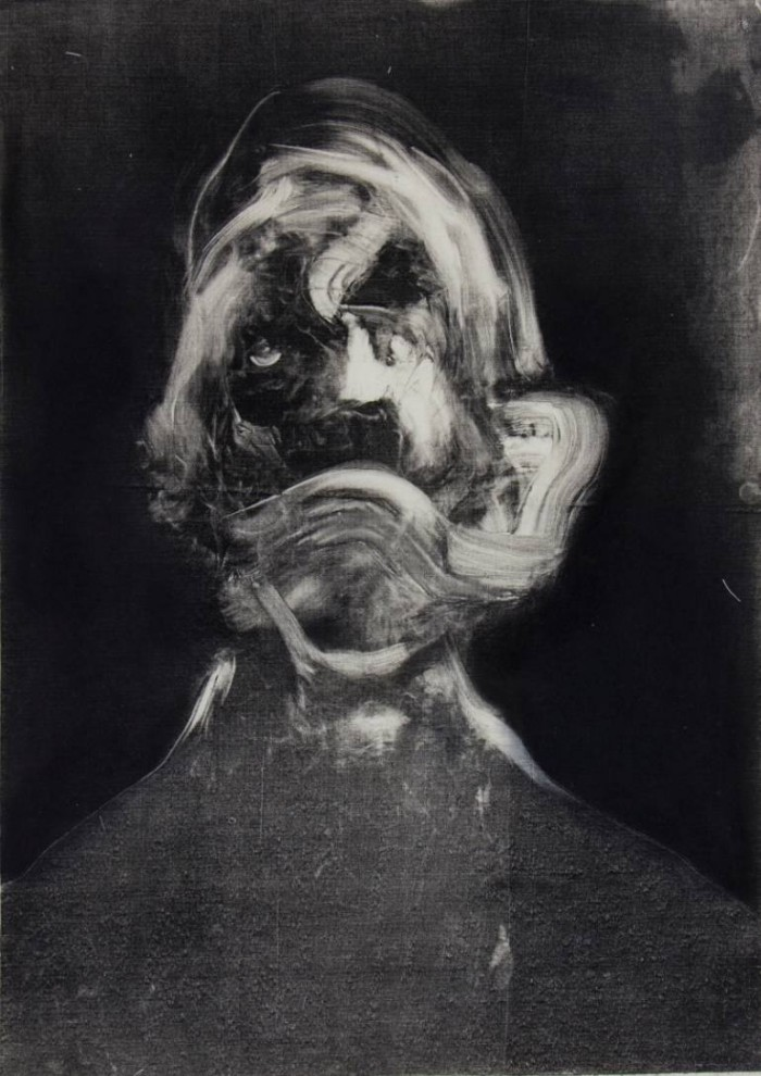 Nicole Coson, monotype, monoprint, black and white, ghostly, ethereal, dark, obscure, art, fine art