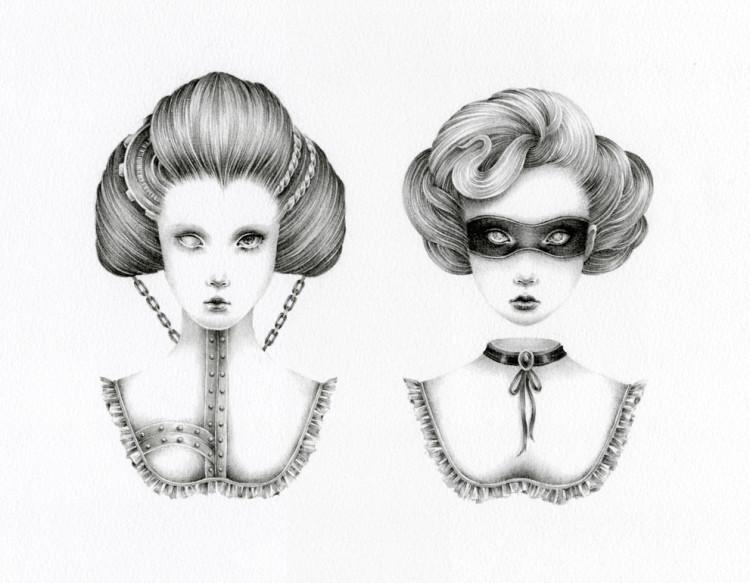 Courtney Brims, illustration, dark, obscure, pencil
