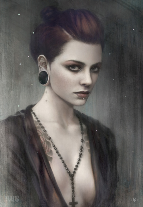 Tom Bagshaw, painting, digital paint, dark, obscure, mystery, portrait