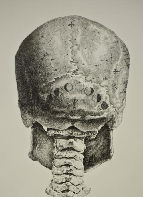 Any Van Dinh, illustration, dark, obscure, pencil, skull