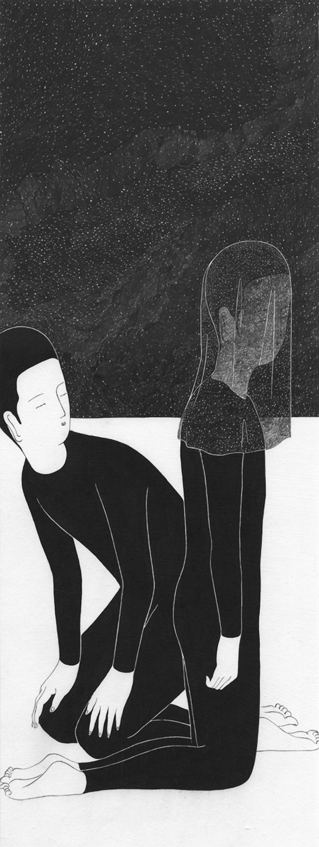 Moonassi, Daehyun Kim, illustration, drawing, black and white, dark, obscure