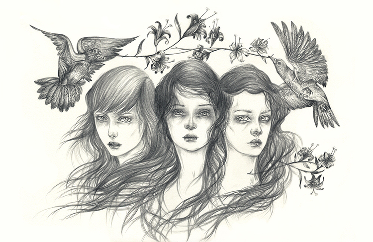 Liza Corbett, illustration, pencil, guache, dark, obscure
