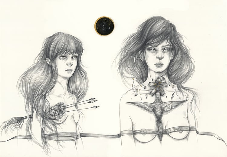 Liza Corbett, illustration, pencil, guache, dark, obscure