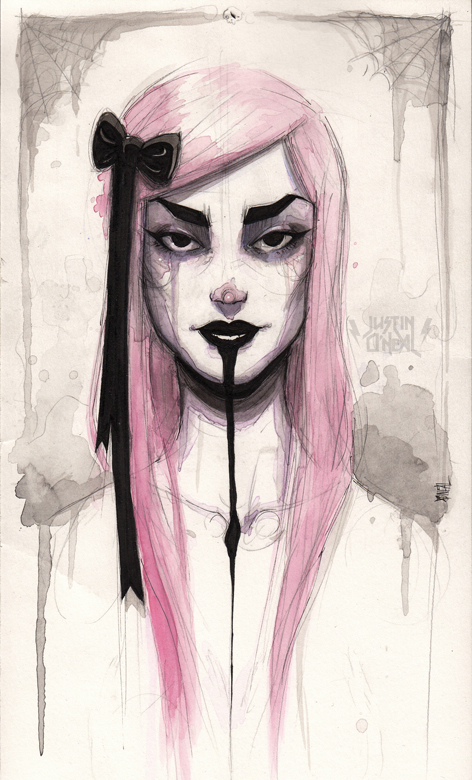 Justin O'Neal, illustration, painting, dark, obscure, goth