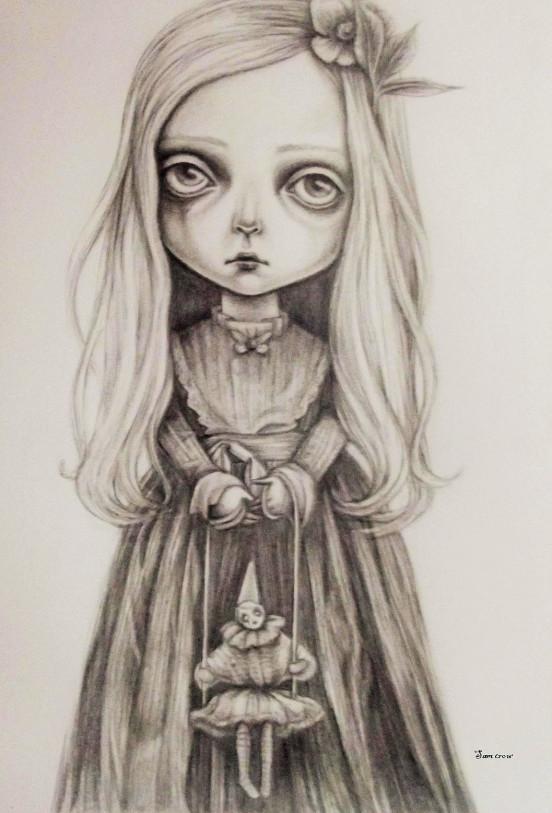 Sam Crow, illustration, pencil, graphite, dark, obscure