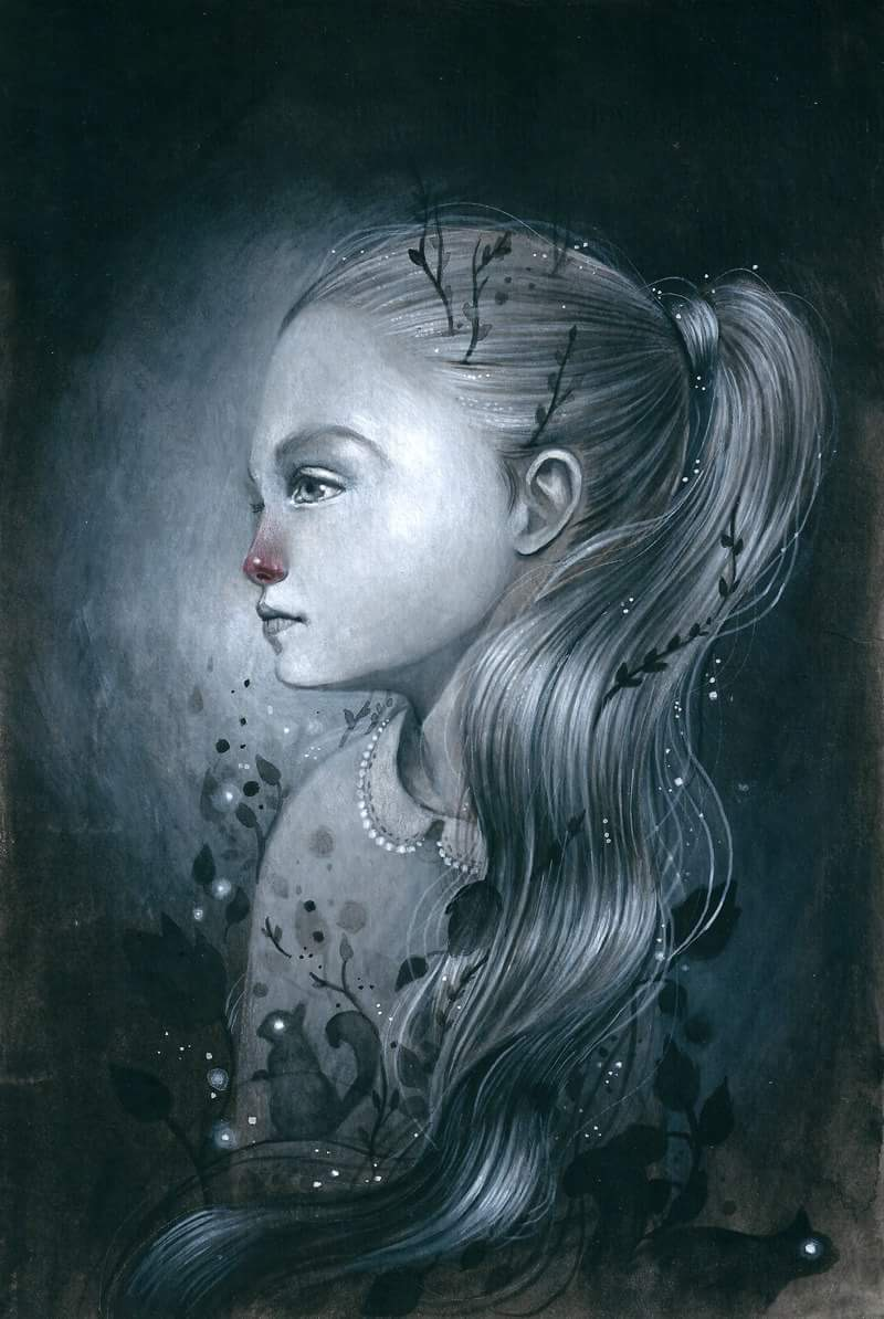 Ania Tomicka, painting, drawing, ethereal, dark, obscure, fairytales