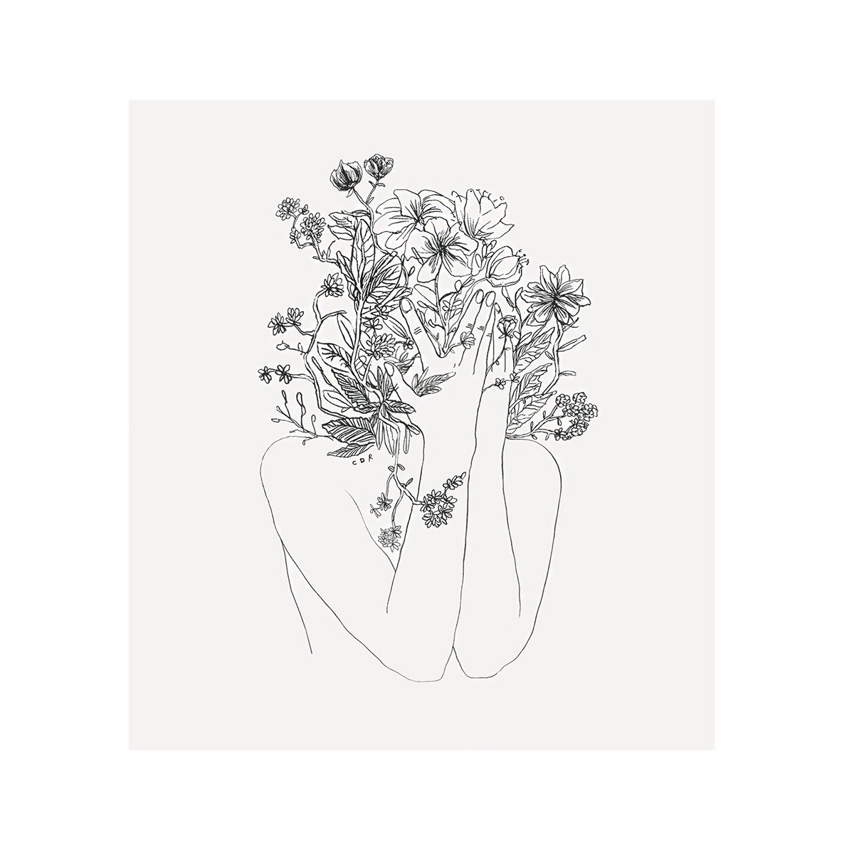 Claudia Deneault, illustration, dark, obscure, black and white, line illustration
