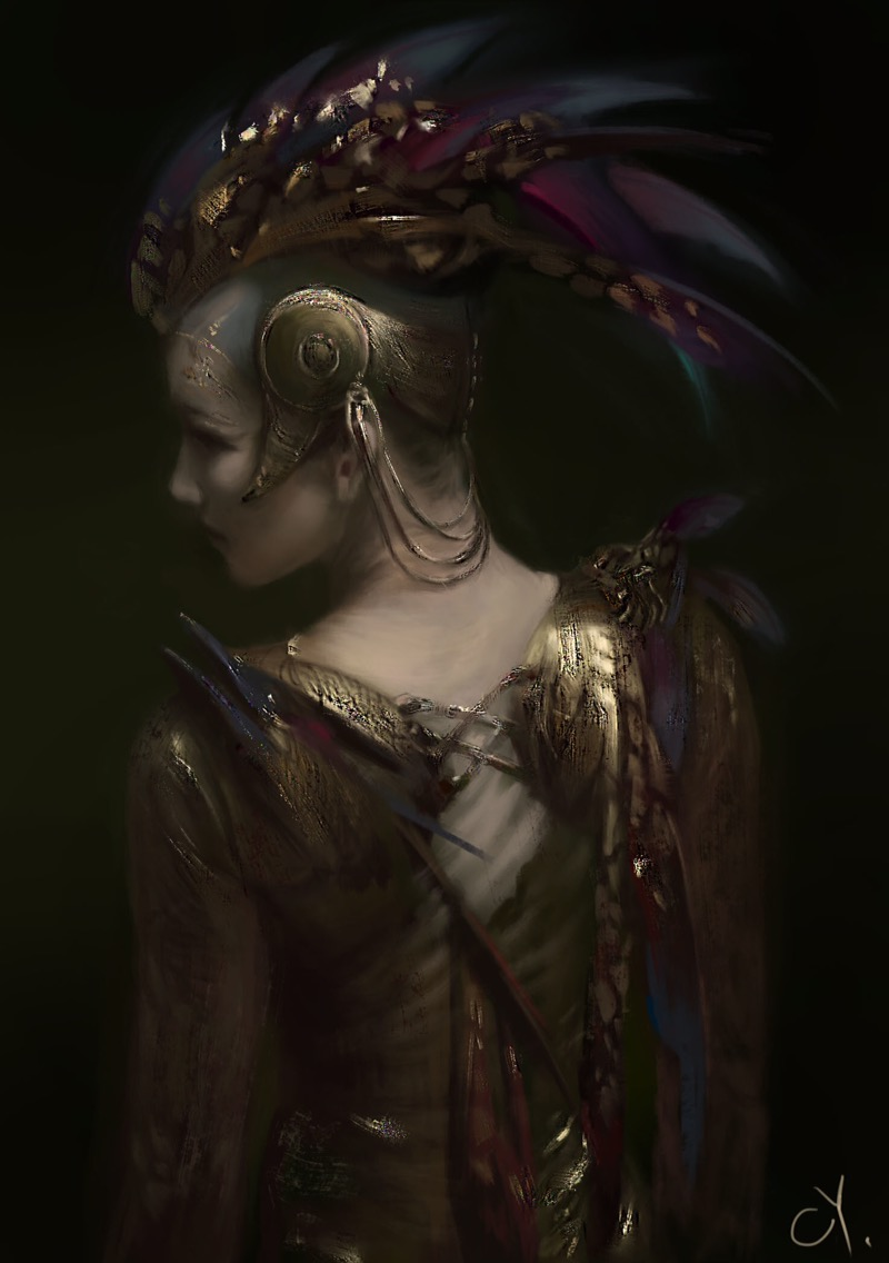 Yue Cheng, digital painting, painting, illustration, dark, obscure
