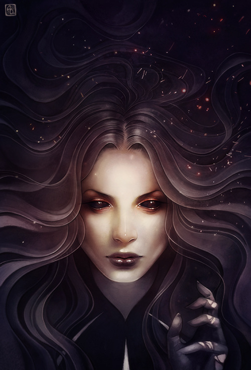 Anna Dittman, illustration, dark, obscure, painting, digital paint