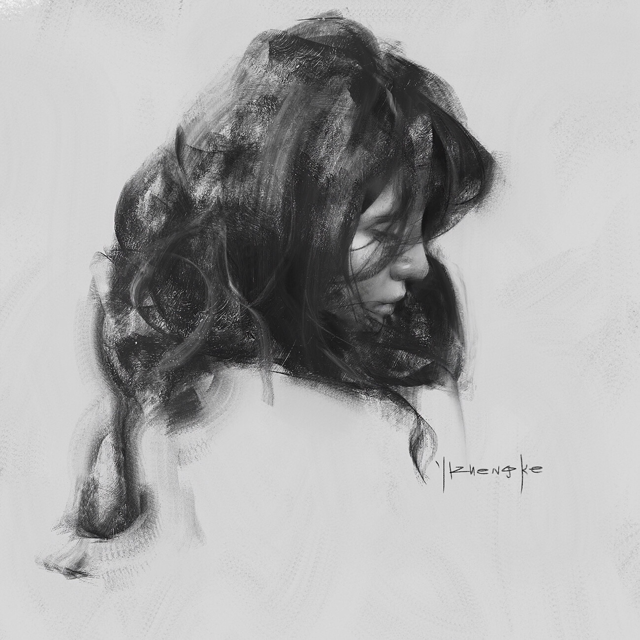 Yizheng Ke, dark, art, ethereal, drawing, black and white, obscure, portrait