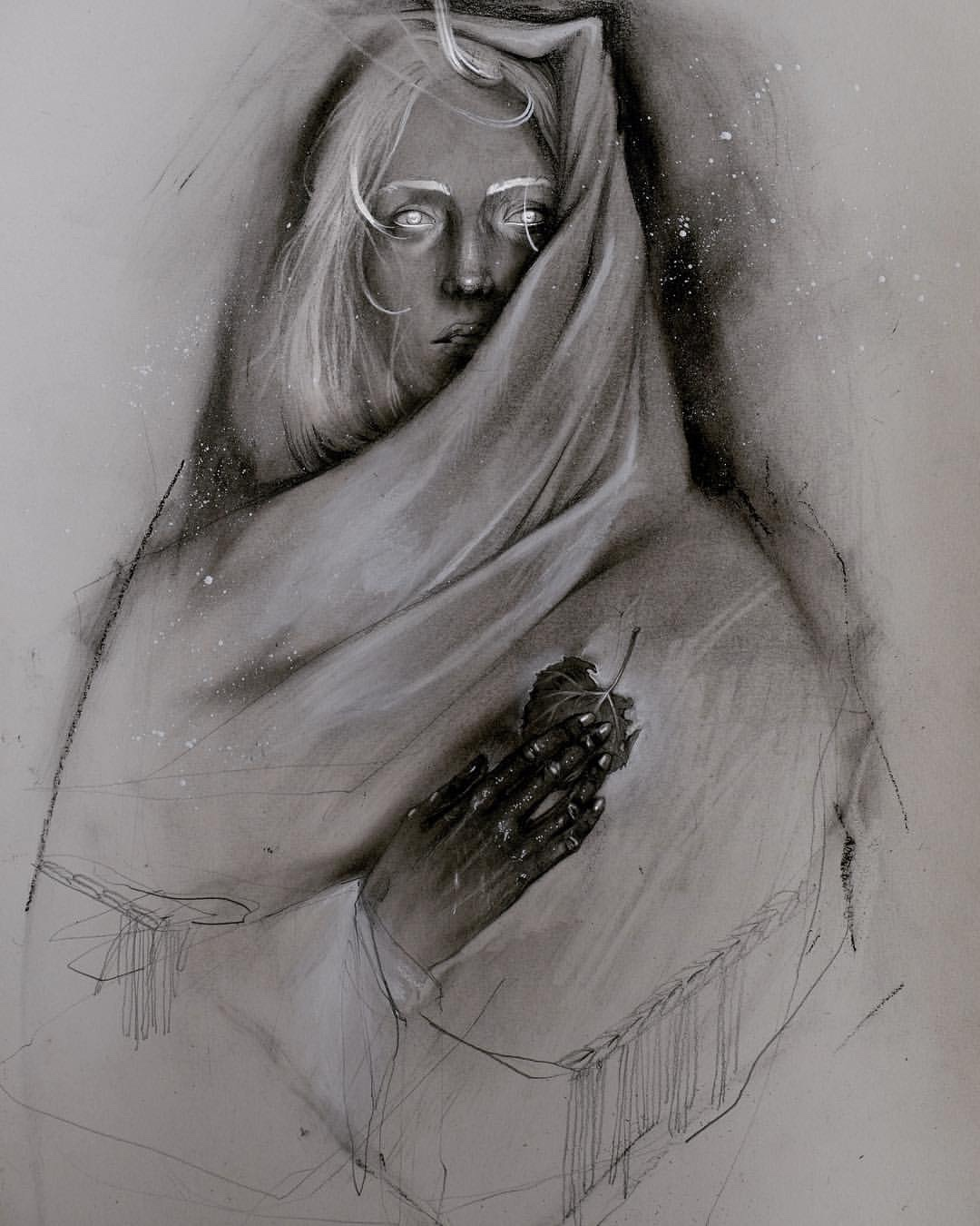 Yadou, dark, art, illustration, drawing, obscure, pencil, charcoal